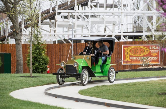 Kings Mills Antique Autos have returned to Kings Island near the Racer roller coaster. The cars are a 2/3 scale Model T classic touring car replica.