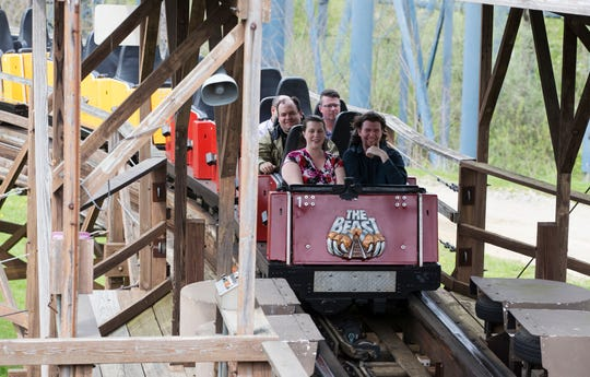 Members of the local media ride the Beast at Kings Island on Wednesday, April 17, 2019. Kings Island is celebrating the 40th anniversary of the Beast.