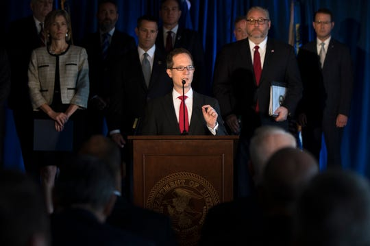 Benjamin C. Glassman, U.S. Attorney for the Southern District of Ohio, speaks during a Wednesday press conference in Cincinnati announcing charges against 60 defendants across 11 federal districts related to illegally prescribed opioid medications.