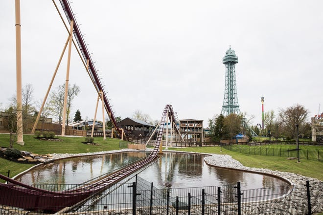 The Diamondback and the Eiffel Tower at Kings Island photographed Wednesday April 17, 2019.