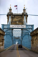 Due to falling sandstone, the John A. Roebling Suspension Bridge will be closed to traffic beginning Wednesday, April 17, 2019.