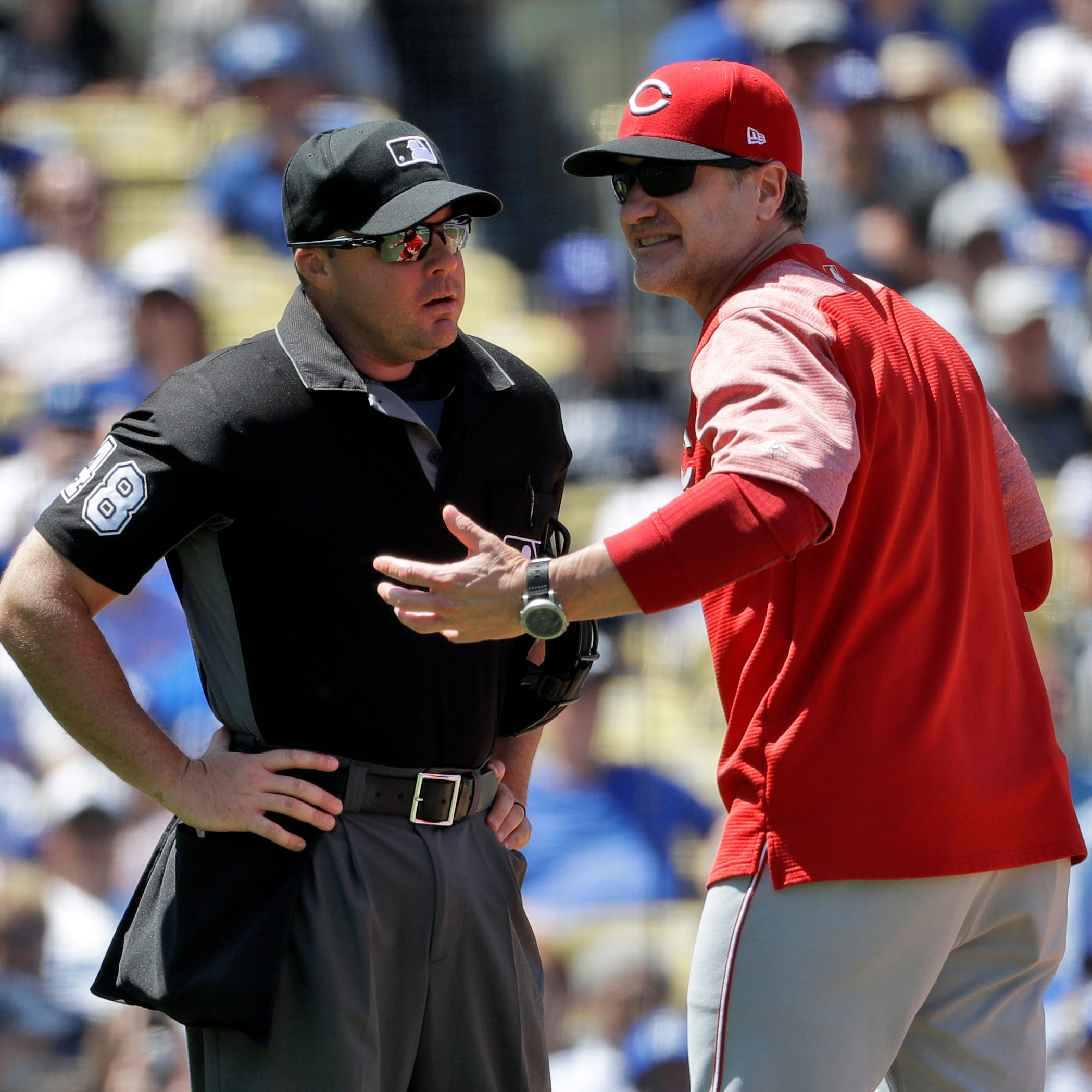 Manager David Bell ejected during the Cincinnati Reds' loss to Los Angeles Dodgers