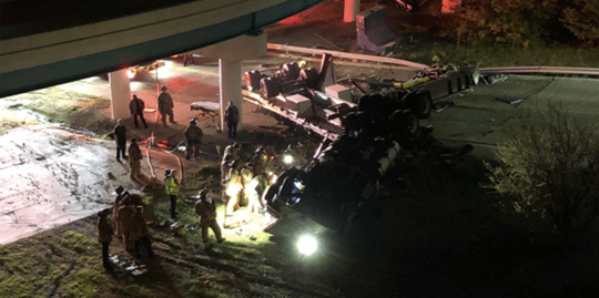 A semi tractor-trailer flipped off the Interstate 471 ramp to Third Street in downtown Cincinnati early Wednesday, authorities said.