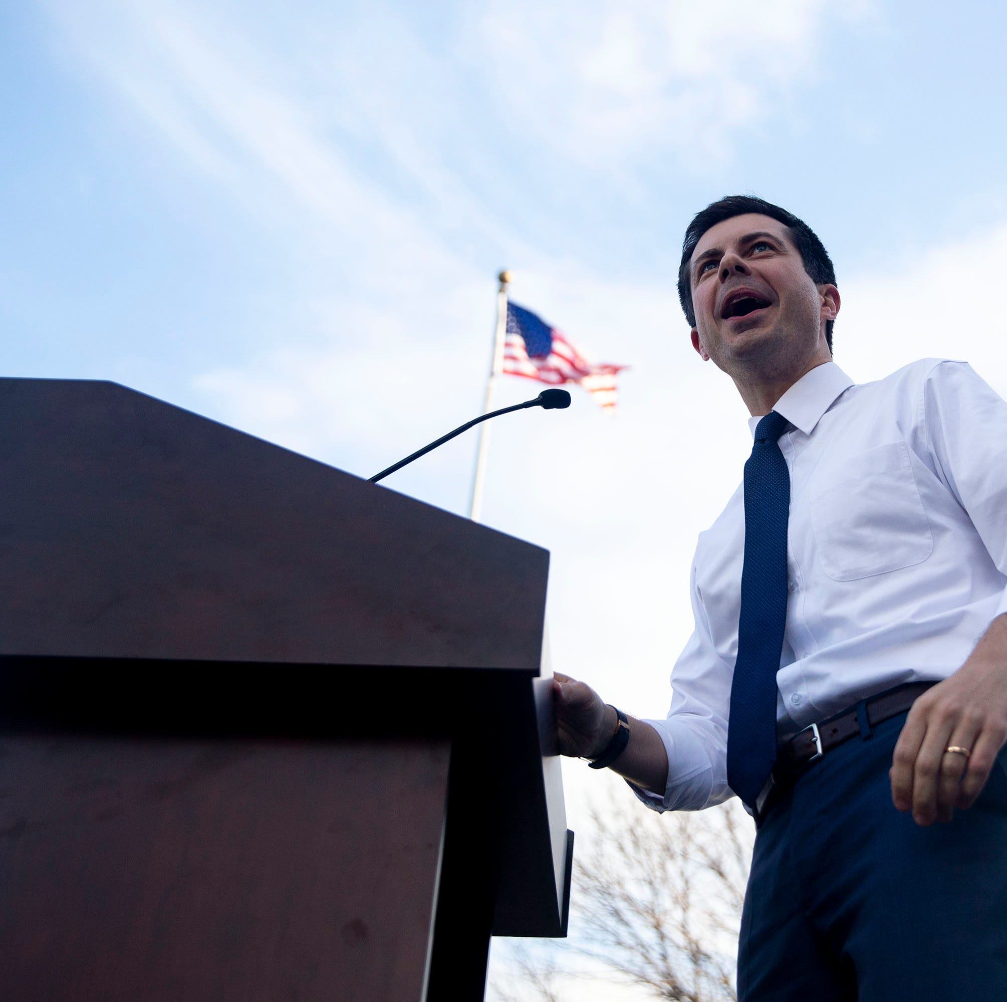 Pete Buttigieg, mayor of South Bend, Ind., speaks to a crowd of people outside of Franklin Junior High School on Tuesday, April 16, 2019, in Des Moines. This is Buttigieg's first event in Des Moines since announcing his campaign for president.