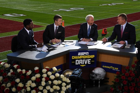 Jan 1, 2019; Pasadena, CA, USA; Desmond Howard (left), Rece Davis (second from left), Lee Corso (second from right) and Kirk Herbstreit on the ESPN Championship Drive set prior to the 2019 Rose Bowl between the Washington Huskies and the Ohio State Buckeyes. Mandatory Credit: Kirby Lee-USA TODAY Sports