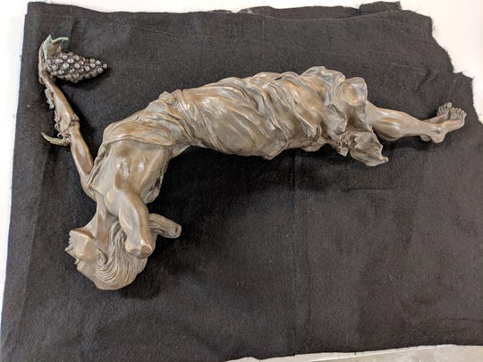 """The """"Goddess of Grapes"""" statue was recovered by Shelly Reichert and returned to the Sioux City Art Museum in April 2019 after missing for nearly two years."""