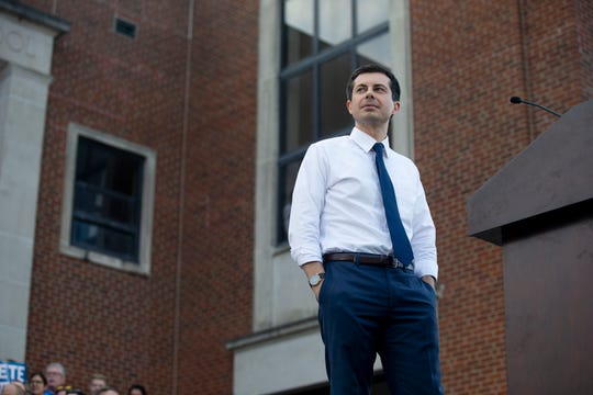 Democratic presidential candidate Pete Buttigieg, mayor of South Bend, Indiana, speaks to a crowd on April 16 in Des Moines. Buttigieg, a former officer in the U.S. Navy Reserve, is increasing his Iowa organizing with fellow veterans.
