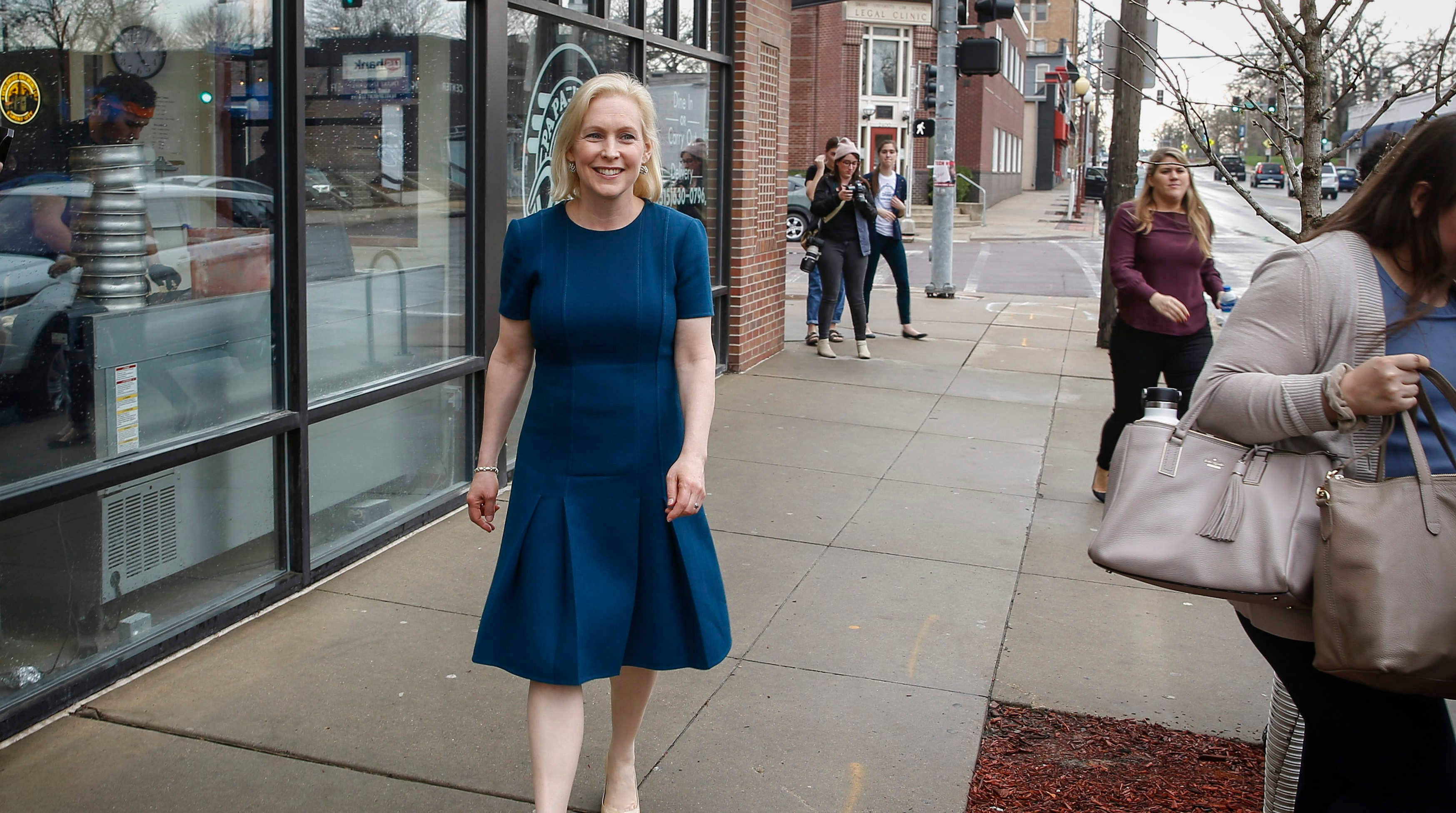 U.S. Senator and democratic presidential candidate hopeful Kirsten Gillibrand (D-NY) makes her way to her car after she visited with supporters at Papa Keno's in Des Moines' Drake neighborhood on Tuesday, April 17, 2019.