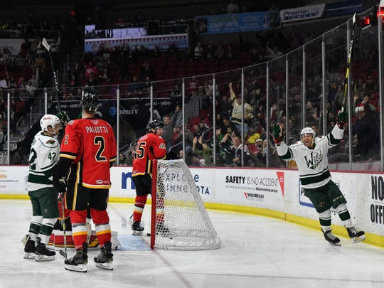 Iowa winger Gerry Mayhew (right) leads the Wild in goals this AHL season with 27, and he's second on the team in points with 60. The 26-year-old and his teammates begin the postseason with a home game against the Milwaukee Admirals on Sunday.