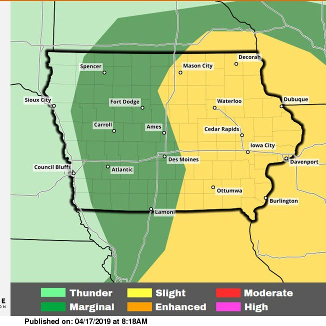 'First relatively widespread weather threat' to blow through central, southern Iowa on Wednesday
