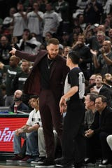 Blake Griffin receives a technical foul from referee Pat Fraher during Game 1 on Sunday.