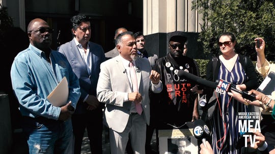 Nabih Ayad, Detroit attorney, speaks April 8 in front of U.S. District Court in Detroit, about new evidence in the 2015 shooting death of Terrance Kellom by an ICE agent. To his right is Kellom's father, Kevin Kellom. And to his left is Nasser Baydoun, with the Arab American Civil Rights League in Dearborn, and Rev. Wendell Anthony, who leads the Detroit chapter of the NAACP
