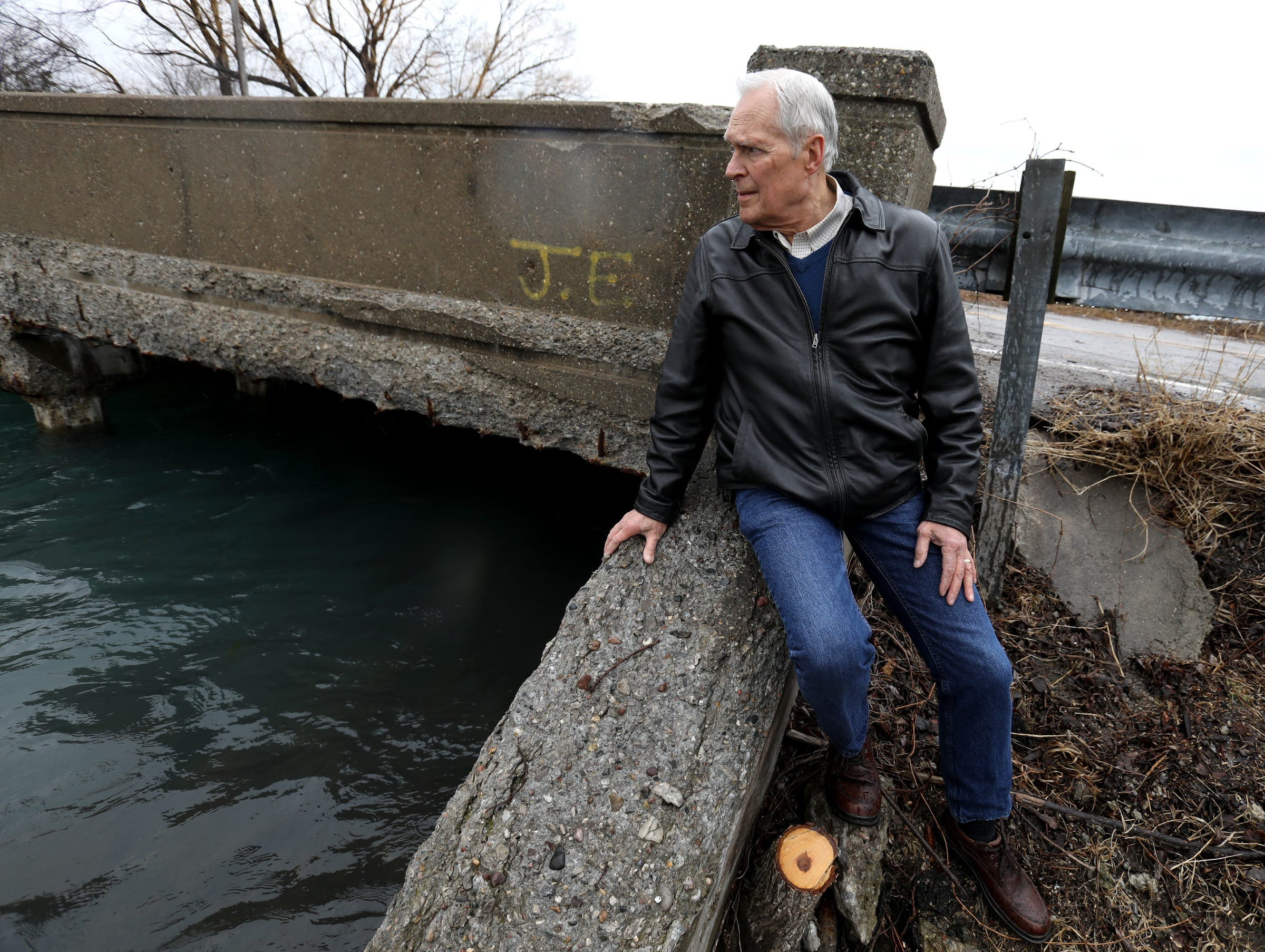 Bill Heil, 77, of Grosse Ile at the East River Road Bridge on a Saturday in March. The bridge is in serious condition.