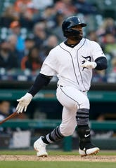 Christin Stewart of the Detroit Tigers hits a double during the fourth inning to drive in Niko Goodrum against the Pittsburgh Pirates at Comerica Park on April 16, 2019 in Detroit.