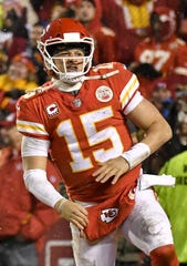 Kansas City Chiefs quarterback Patrick Mahomes celebrates after his team's touchdown against the Indianapolis Colts during an AFC Divisional game Saturday, Jan. 12, 2019, at Arrowhead Stadium in Kansas City, Mo.