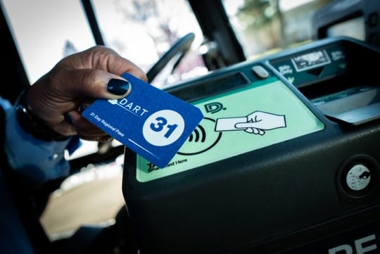 "Bus riders in metro Detroit will begin using the Dart unified payment system on May 1. The available 31-day pass, shown here, will allow riders to ""tap to pay"" as they board."