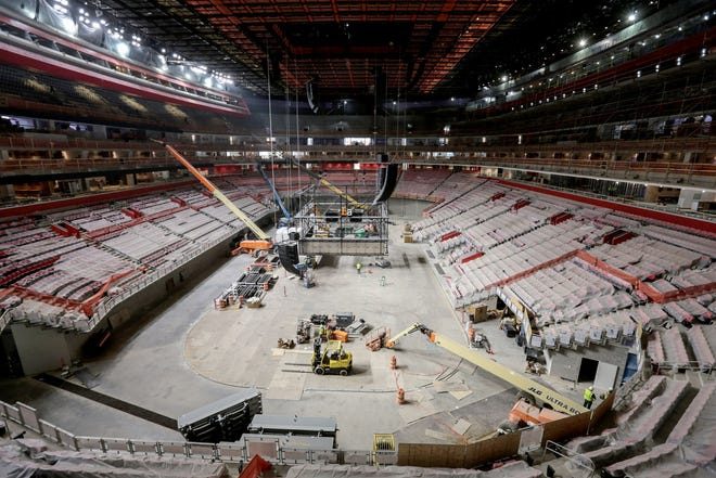 Work continues on the arena area during a construction tour of the Little Caesars Arena in downtown Detroit on Monday, June 12, 2017.