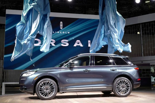 The 2020 Lincoln Corsair small SUV is revealed at the New York Auto Show.