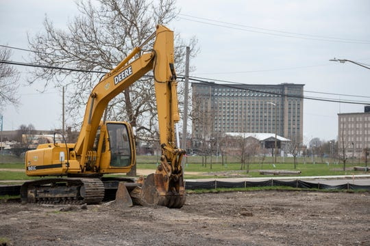 A plot of land under development at the intersection of Pine and Vermont, in the Corktown neighborhood of Detroit.