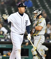 Tigers' Miguel Cabrera after he strikes out swinging in the eighth inning.