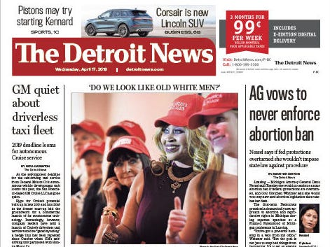 The front page of the Detroit News on April 17, 2019.