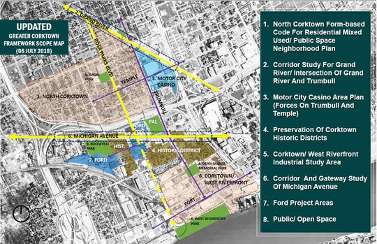 Maps of the Greater Corktown Framework project from the City of Detroit's website.