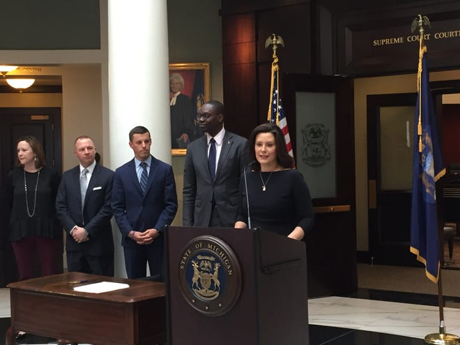 Gov. Gretchen Whitmer announced a 21-person bipartisan task force Wednesday, April 17, 2019 at the Hall of Justice in Lansing. The task force will review jail and court data in 2019 in order to find ways to reduce jail populations and length of stays.