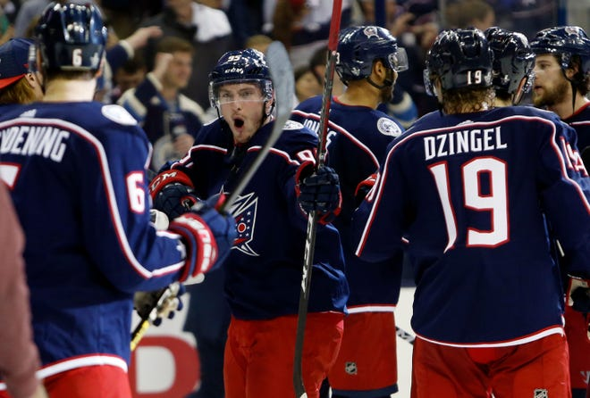 Columbus Blue Jackets' Matt Duchene celebrates the team's win over the Tampa Bay Lightning.