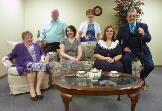 """The cast of """"37 Postcards,"""" from left, are Denise Shaffer, Ray Woznick, Julia Schramek, Julie Wild, Deb Serwe and Michael Detert. Detert is also director of the show."""