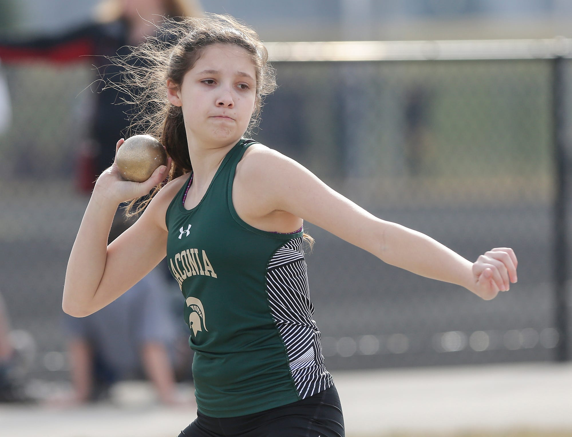 Laconia High School's Jayda Janeczko takes part in the shot putt Tuesday, April 16, 2019 at North Fond du Lac High School in North Fond du Lac, Wis. Doug Raflik/USA TODAY NETWORK-Wisconsin