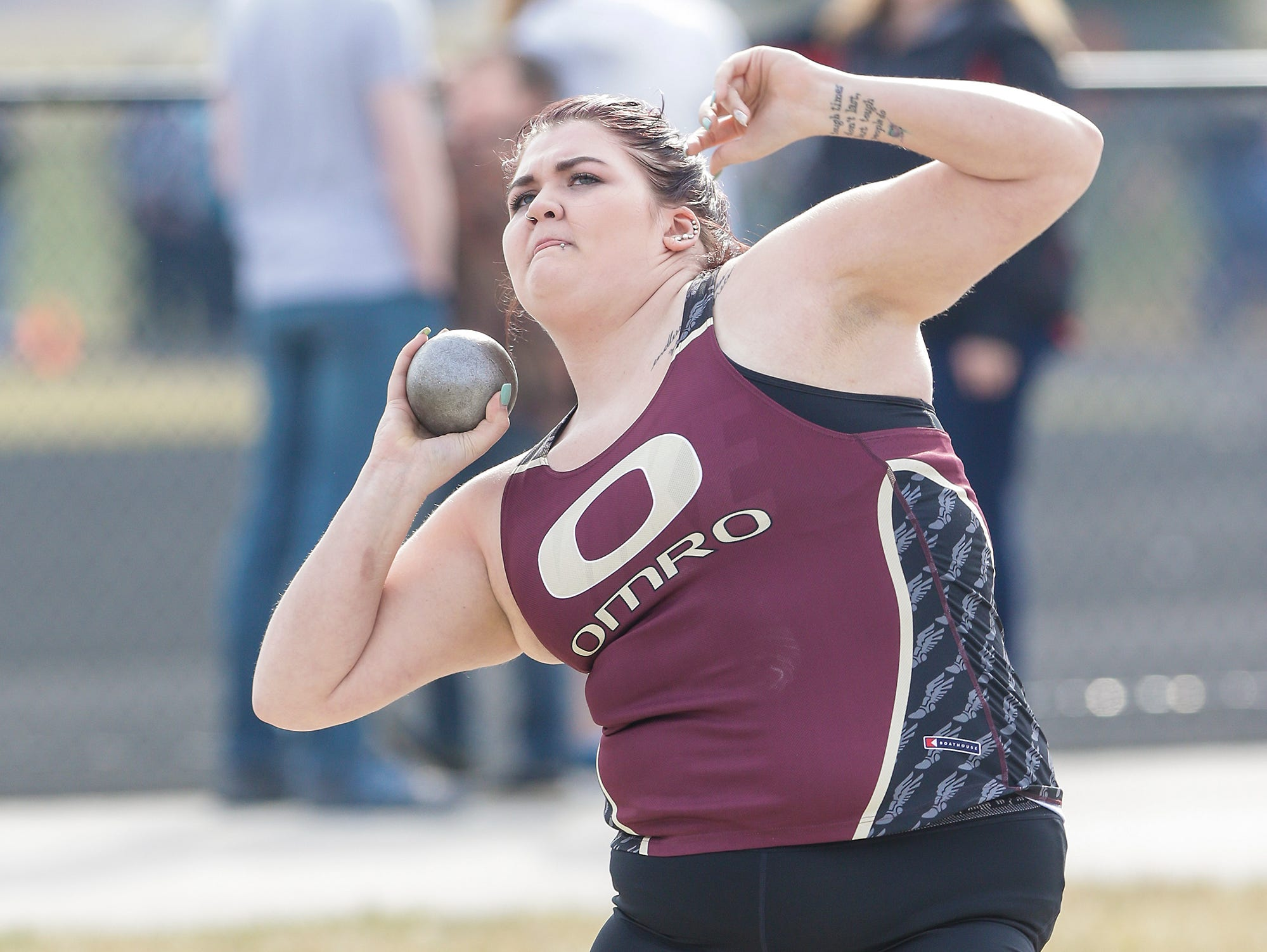 Omro High School's Ashly Carpenter takes part in the shot putt Tuesday, April 16, 2019 at North Fond du Lac High School in North Fond du Lac, Wis. Doug Raflik/USA TODAY NETWORK-Wisconsin