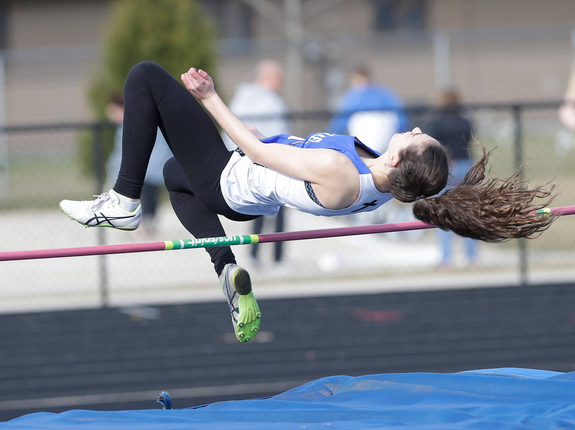 St Mary's Springs Academy's Isabella Coon takes part in the high jump Tuesday, April 16, 2019 at North Fond du Lac High School in North Fond du Lac, Wis. Doug Raflik/USA TODAY NETWORK-Wisconsin
