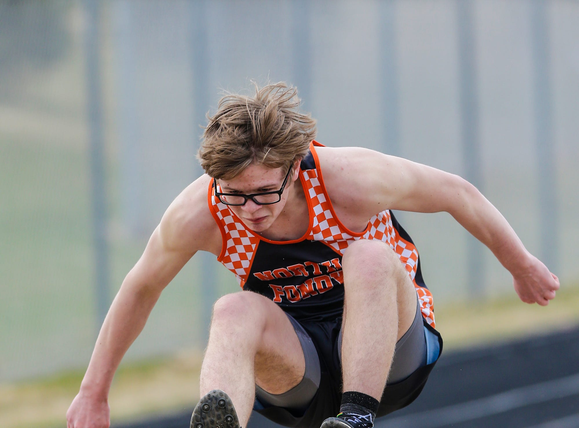 North Fond du Lac High School's Eathon Seaton takes part in the High Jump Tuesday, April 16, 2019 at North Fond du Lac High School in North Fond du Lac, Wis. Doug Raflik/USA TODAY NETWORK-Wisconsin