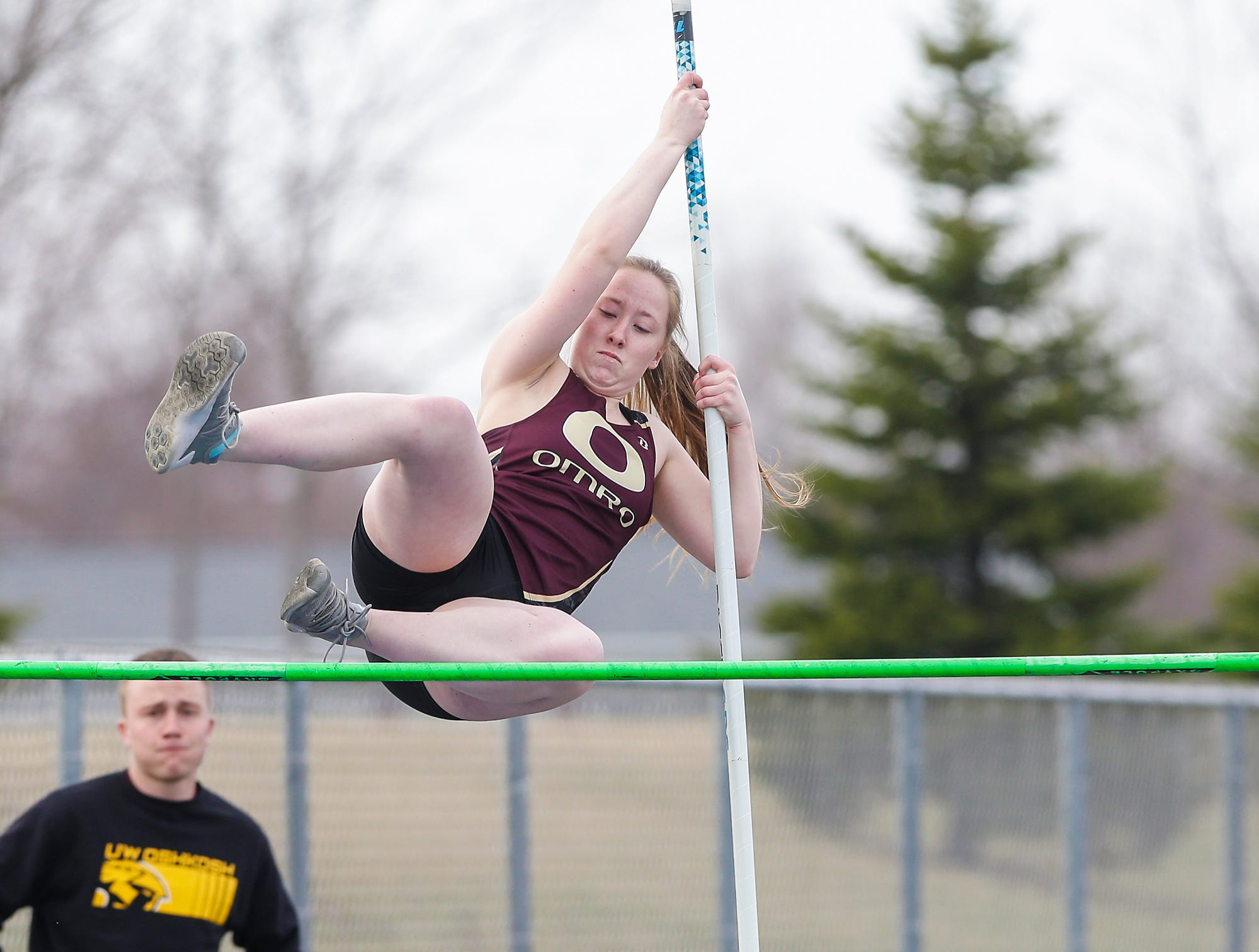 Omro High School's Jenna Hanson takes part in the pole vault Tuesday, April 16, 2019 at North Fond du Lac High School in North Fond du Lac, Wis. Doug Raflik/USA TODAY NETWORK-Wisconsin