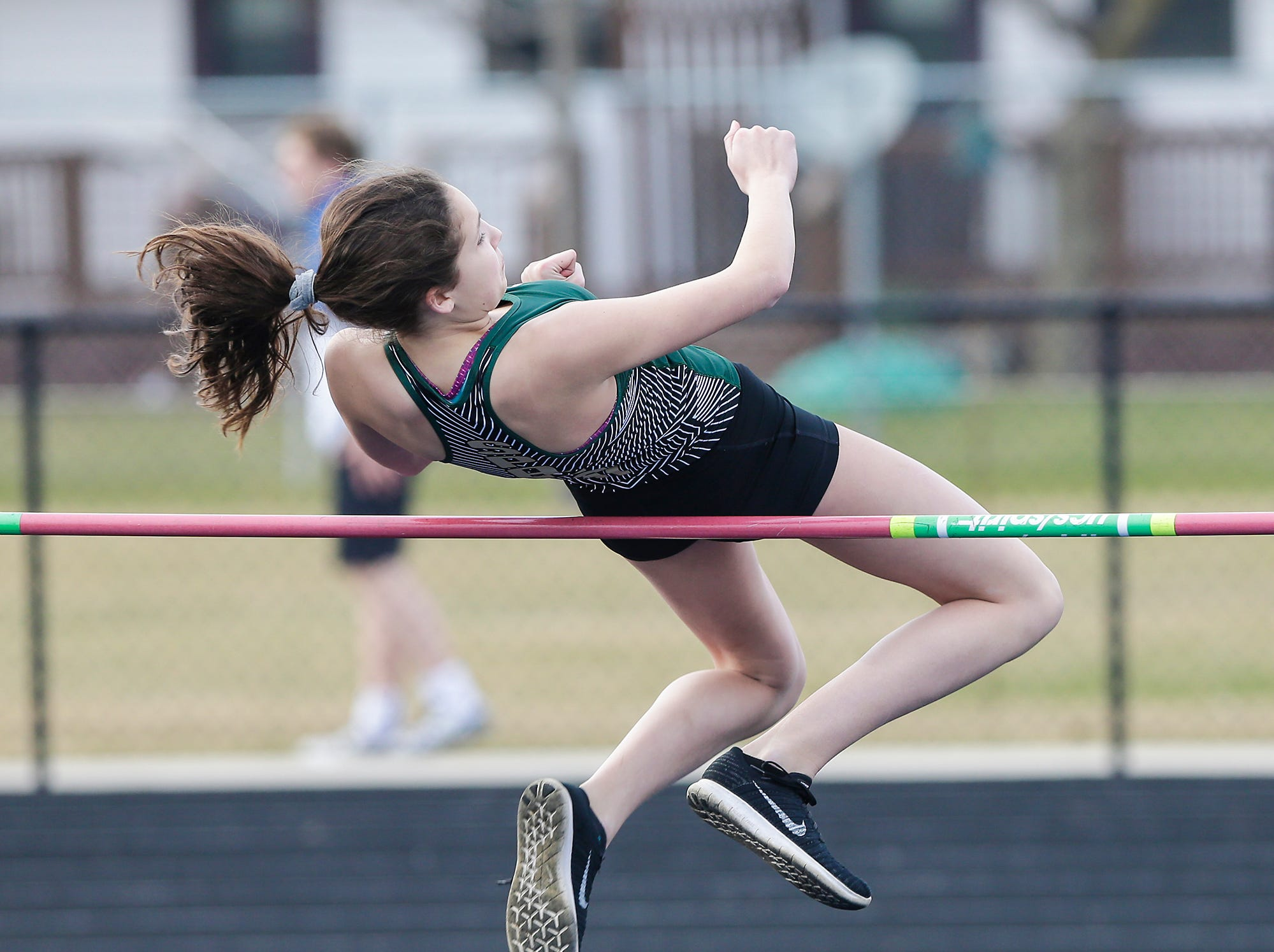 Laconia High School's Jayda Janeczko takes part in the high jump Tuesday, April 16, 2019 at North Fond du Lac High School in North Fond du Lac, Wis. Doug Raflik/USA TODAY NETWORK-Wisconsin