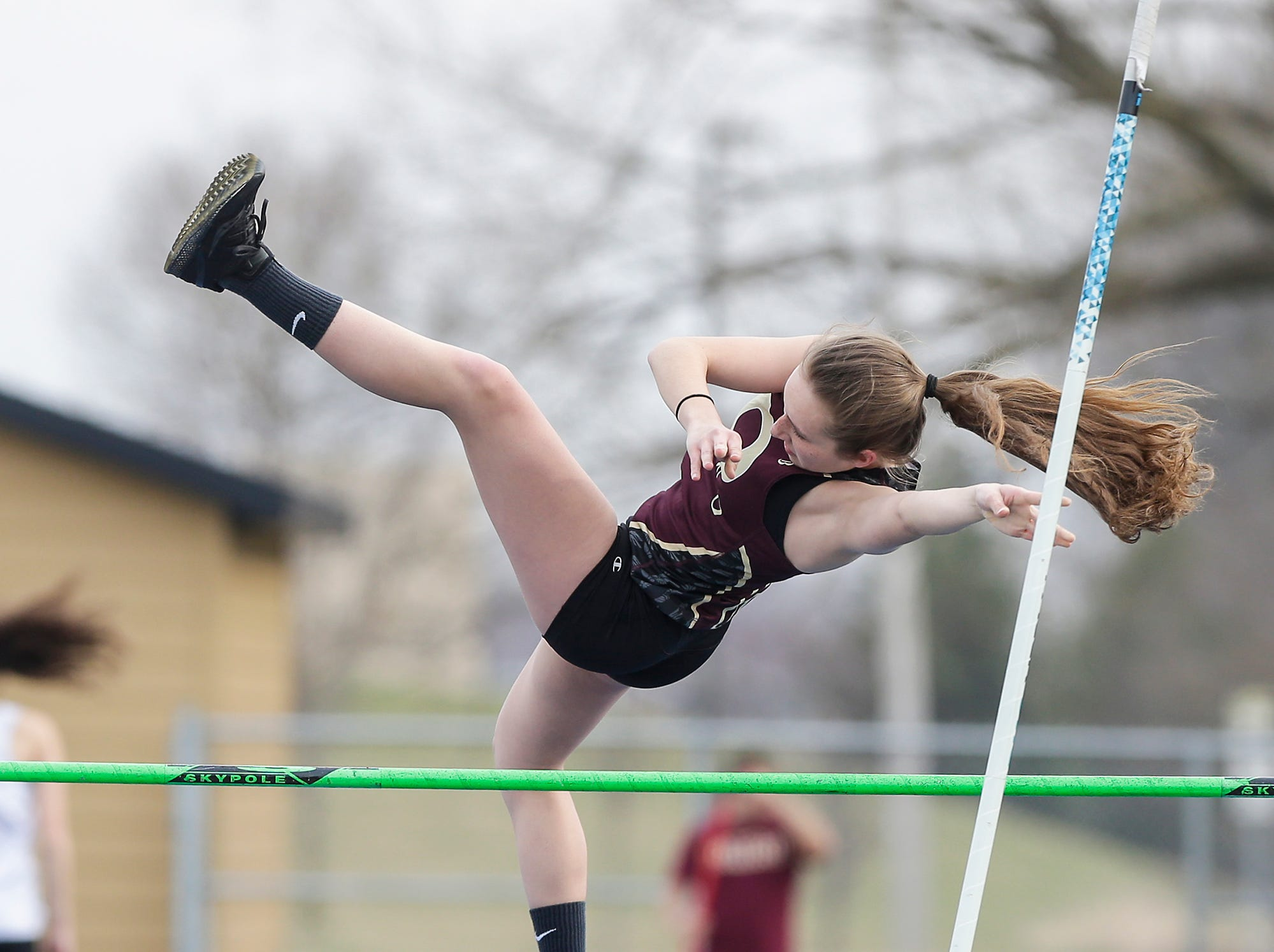 Omro High School's Tejah Thull takes part in the pole vault Tuesday, April 16, 2019 at North Fond du Lac High School in North Fond du Lac, Wis. Doug Raflik/USA TODAY NETWORK-Wisconsin