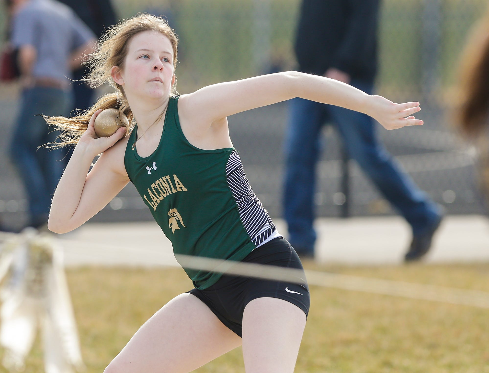 Laconia High School's Alexis Coffeen takes part in the shot putt Tuesday, April 16, 2019 at North Fond du Lac High School in North Fond du Lac, Wis. Doug Raflik/USA TODAY NETWORK-Wisconsin