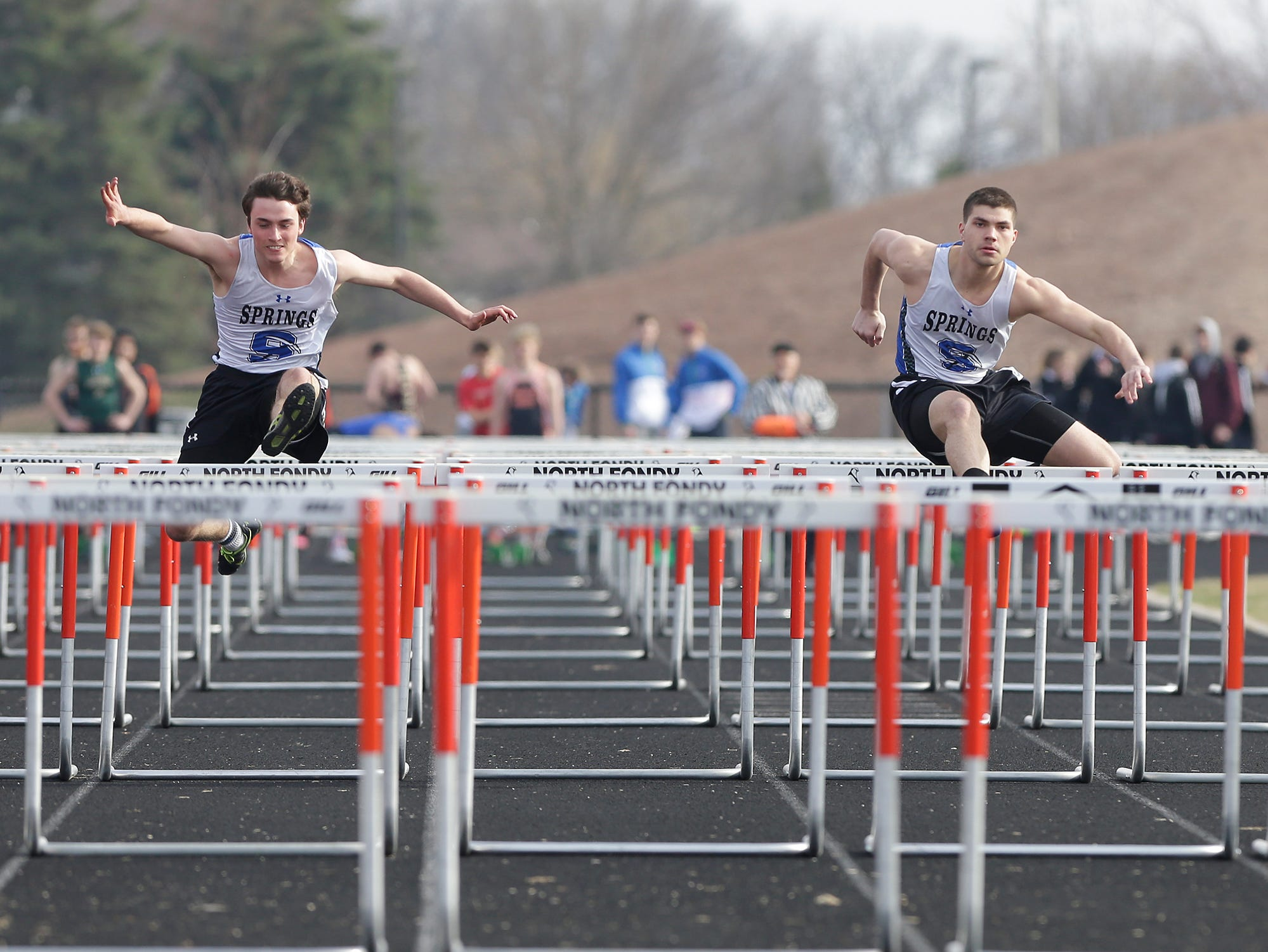 St Mary's Springs's Tim Schuessler and Sam Skiff take part in the boys 110 meter hurdles Tuesday, April 16, 2019 at North Fond du Lac High School in North Fond du Lac, Wis. Doug Raflik/USA TODAY NETWORK-Wisconsin