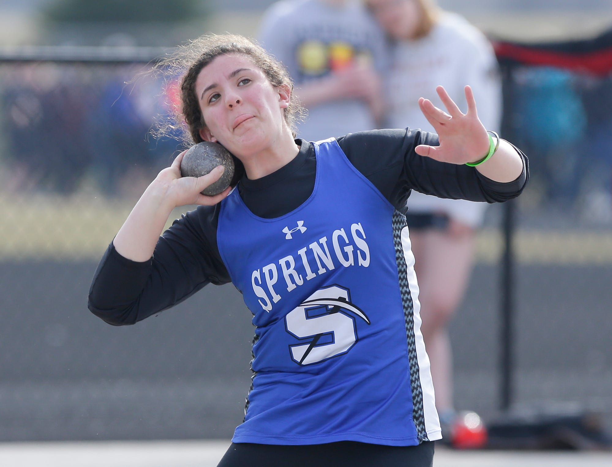 St Mary's Springs Academy's Cecelia Rodriguez takes part in the shot putt Tuesday, April 16, 2019 at North Fond du Lac High School in North Fond du Lac, Wis. Doug Raflik/USA TODAY NETWORK-Wisconsin