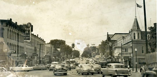 West State Street saw a mass of traffic in the 1950s.