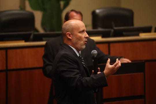 Greg Adkins, the superintendent for Lee County School District addresses a crowd during a school bus safety forum at the Lee County Public Education Center on Tuesday April, 16, 2019.