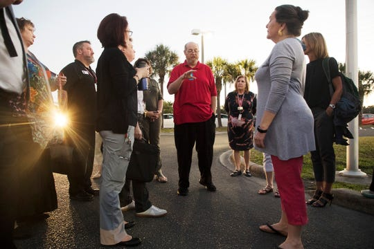 Kevin Daly, the president of the Teachers Association of Lee County, speaks before a walk-in to support better funding for public schools on Wednesday, April 17, 2019. He said the union is paying close attention to what the new high school schedules mean for contract hours and planning time for teachers.
