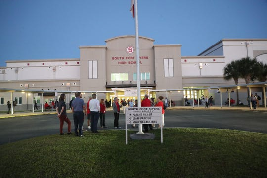 South Fort Myers High School teachers and administrators and community members staged a walk-in before classes on Wednesday April, 17, 2019. Educators across Florida joined  the 'walk-in' to support increased funding for public schools.