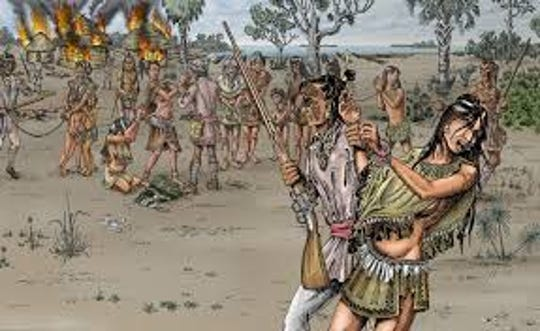 The Calusa were large and strong, but the Creek slavers who burned their towns and villages were armed with British muskets.