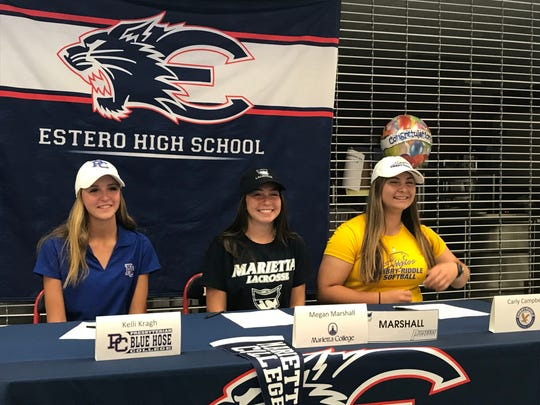 Estero's Kelli Kragh, Megan Marshall and Carly Campbell announced their college choices at a signing ceremony Wednesday at the school. Kragh is playing golf at Presbyterian University in South Carolina. Marshall will play lacrosse at Marietta College in Ohio, while Campbell will play softball at Embry-Riddle University in Daytona Beach.