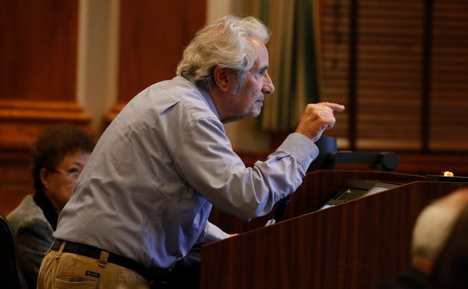 Estero resident Joe Miceli voices his disapproval during the Lee County CommissionÕs comprehensive plan hearing on Wednesday, April 17, 2019. The BOCC is considering proposed changes to limerock mining rules.