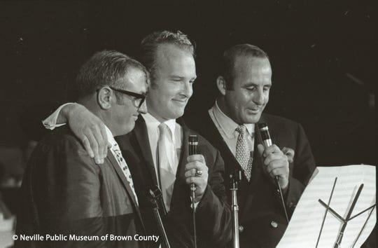 "Retired Green Bay Packers players Fuzzy Thurston, from left, Paul Hornung and Max McGee returned to Green Bay to honor former coach Vince Lombardi with a song during ""An Evening with Vince"" on Aug. 7, 1968, at Brown County Veterans Memorial Arena."