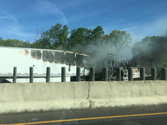 A tractor-trailer caught fire on Interstate 85 South in Greenville County Wednesday morning.