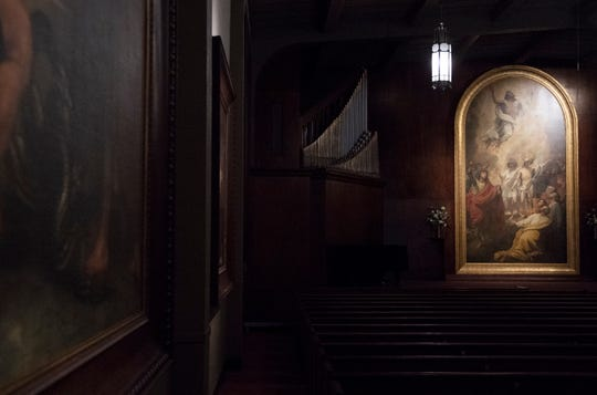 """Paintings by Benjamin West including """"The Ascension"""" (right) hang in the War Memorial Chapel at Bob Jones University Wednesday, April 17, 2019."""