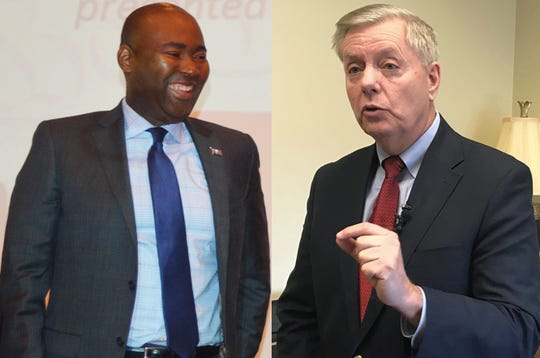 Former South Carolina Democratic Party Chairman Jaime Harrison, left, is challenging incumbent U.S. Sen. Lindsey Graham, R-S.C., in the Senate race in 2020.